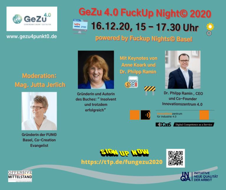 GeZu 4.0 -Fuck up Night 2020 – die GeZu-FuN-Digitalisierungsedition steht in den Startlöchern